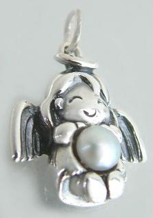 Schutzengel - Anhänger Engel echt Silber 925 mit Perle - Silberanhänger massiv