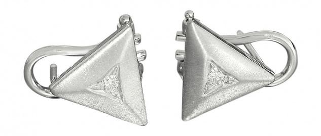 Ohrclips Weißgold 585 mit Brillanten dreieckige Ohrstecker Ohrringe Dreieck