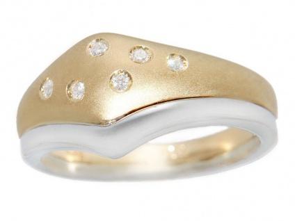 Goldring 585 bicolor Brillanten Ring Damen Diamantring 14 Karat zweifärbig