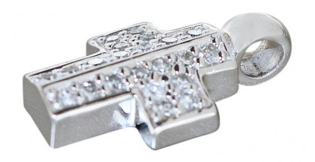 Kreuz Weißgold 14 Karat Diamant Weißgoldanhänger Gold 585 Diamantkreuz