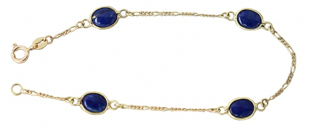 Goldarmband 750 mit Lapislazuli Cabochons Armband Armkette Damenarmband Lapis