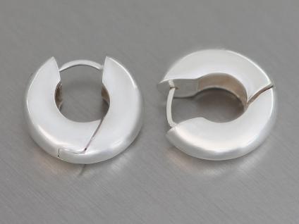 Kleine Breite Klappcreolen Creolen Silber 925 massiv Ohrringe Silbercreolen matt