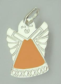 Kleiner Schutzengel Silber 925 Anhänger orange emailliert Silberanhänger Engel