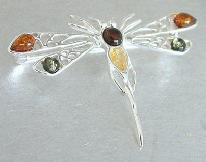 Brosche Silber 925 Libelle mit bunten Bernsteinen große Silberbrosche Damen