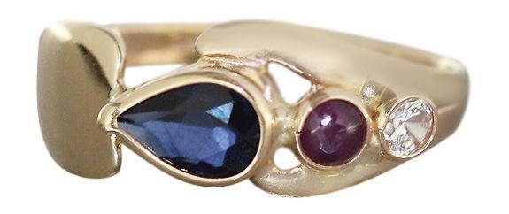 Ring Gold 585 multicolor Edelstein Goldring Damenring Edelsteinring Rubin Saphir