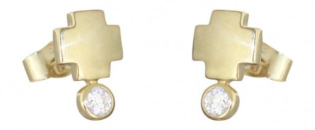 Ohrstecker Gold 585 mit Zirkonias - Kreuz mattiert Goldohrstecker Ohrringe 14 kt