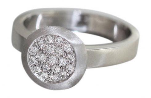 Ring Weißgold 750 Brillantring 0, 20 ct. Designerring massiv WG Damen