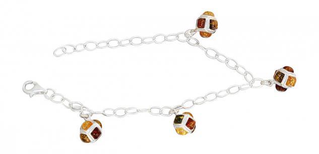 Bettelarmband Silber 925 Silberarmband Bernstein multicolor Schmuck-Armband