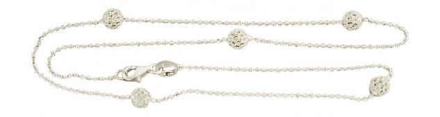 Kugelkette echt Silber 925 Karabiner Silberkette massiv Kugeln Collier 44 cm