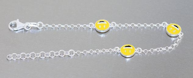 Emojis Armband Silber 925 Smiley gelb Armkette massiv Kinder Karabiner Mädchen