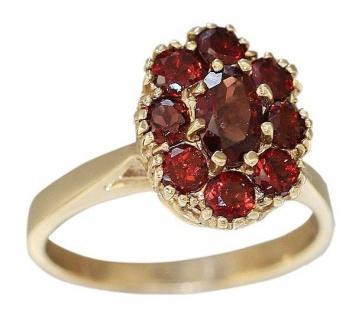 Granatring Ring Gold 585 Goldring Damenring 14 Karat mit Granaten