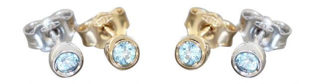 Ohrstecker Gold oder Weißgold 585 mit Blautopas Stecker kleine Goldknöpfe Topaz