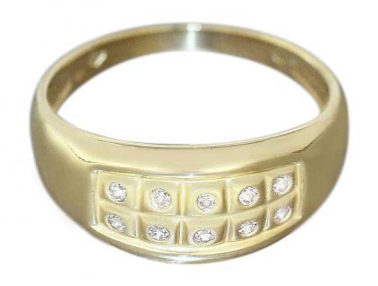 Ring Gold 750 mit Zirkonias breiter Damenring Goldring Gelbgold 18 Karat