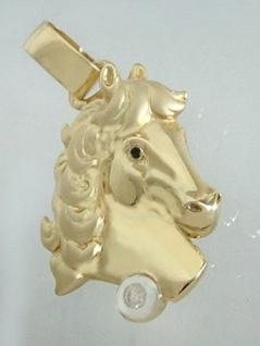 Massiver Pferdekopf Anhänger Gold 750 mit Brillant 0, 05 ct. Goldanhänger Pferd - Vorschau 2