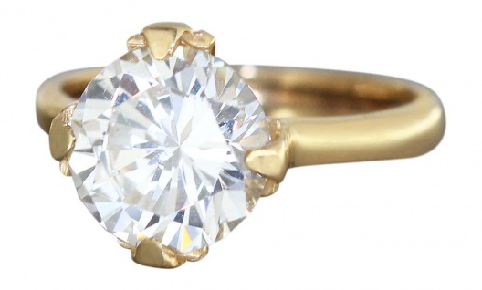 Große Optik! Solitärring Gold 585 - Goldring mit Zirkonia - Ring Damenring 14 kt