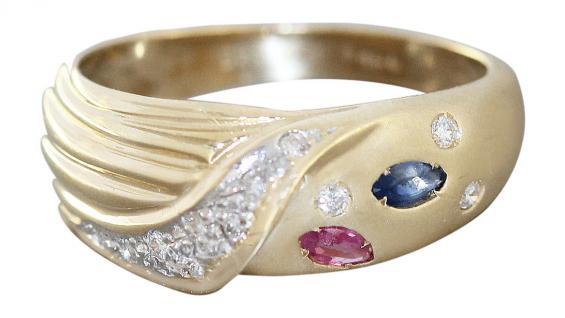 Goldring 585 mit 11 Brillanten Rubin Saphir Ring Gold 14 Karat Brillantring