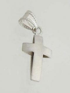 Kleines Kreuz Weißgold 585 - Anhänger Gold 14 kt - Weißgoldkreuz - Goldanhänger