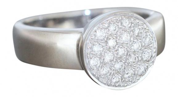Wertvoller massiver Ring Weißgold 750 Brillantring 0, 40 CT. Weißgoldring Gold