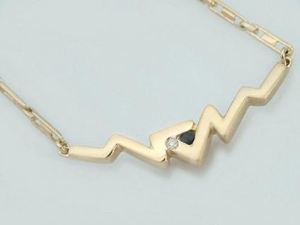 Modernes Collier Gold 585 - Goldkette Brillant und Saphir - Kette Gold 14 kt