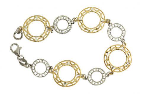 Bicolor Armband Silber 925 - Designerarmband Silberarmband Armkette Gold Silber