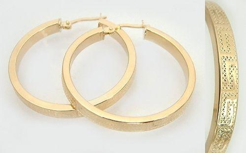 3, 5 cm große breite Creolen Gold 585 Ohrringe Mäander Muster Gelbgold 14 Kt.