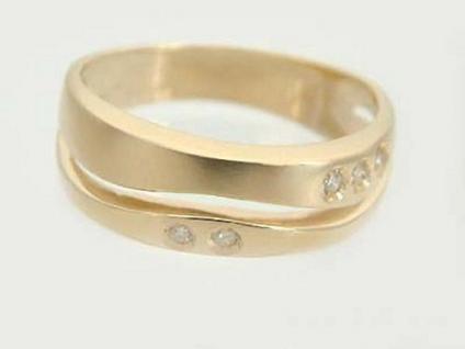 Goldring 585 mit Brillanten - harmonische Welle - Ring Gold 14 kt - Brillantring