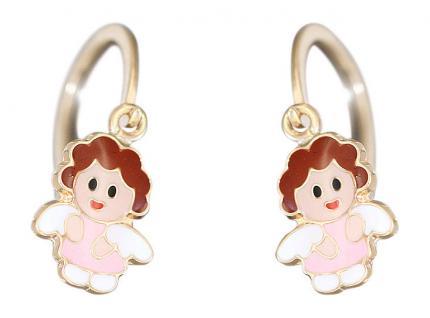 Kleine Engel Ohrhänger Gold 585 Kinder Ohrringe Puppe bunt emailliert Brisur