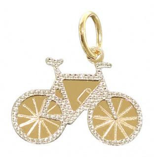 Fahrrad Anhänger Zweifarbengold 585 - Bike Gold 14 kt - kleines Rad Goldanhänger