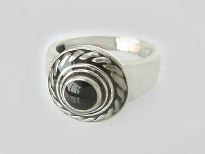 Sehr schöner Silberring 925 Ring Silber schwarz emailliert Damenring Blickfang