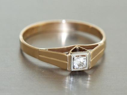 Ring Gold 585 Ring in 14 kt Gold (585/000) mit 1 Zirkonia