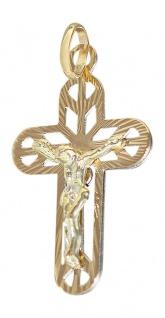 Anhänger Kreuz Gold 585 / 14 Karat mit Korpus Goldanhänger Kettenanhänger