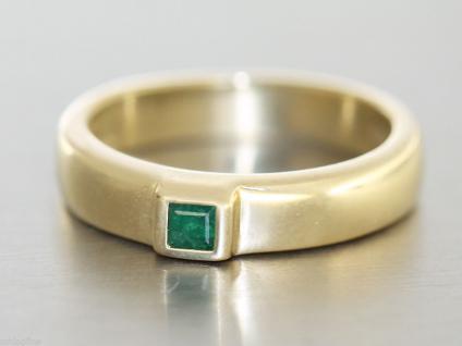 Ring Gold 585 - Ring in 14 kt Gold (585/000) mit 1 quadrat.Schmuckstein