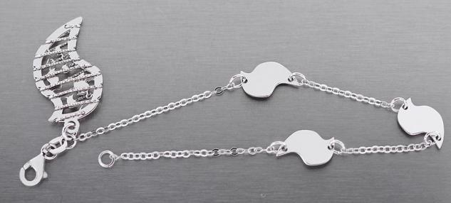 Trendy Armband Silber 925 mit Anhänger - Silberarmband - Armkette rhodiniert