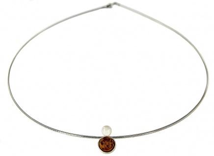 Massiver Halsreif Silber 925 Anhänger Bernstein Perle Collier Damen Halskette