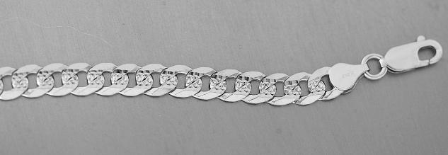 19 cm massives Panzerarmband Silber 925 Armkette 7 mm breites Armband 9 gr.