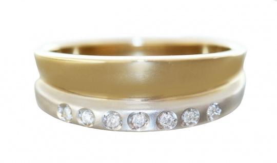 Breiter Brillantring Ring Gold 585 mit 7 Brillanten edler Goldring 14kt