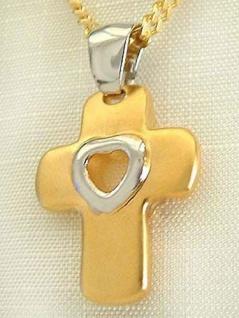Großes Kreuz mit Herz - Goldkette pl + Anhänger Kreuz - Panzerkette Gold pl