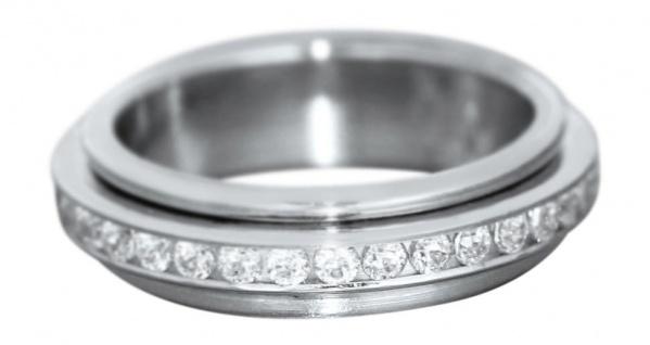 Drehbarer Memoryring Weißgold 585 + Zirkonias Damenring Eternity Ring Gold RW 49
