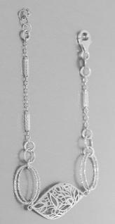 Armband echt Silber 925 Blatt Armkette massiv mit Karabiner Damen Schmuck