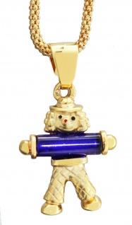 Clown Anhänger Gold 375 Goldclown Kettenanhänger blau wahlweise mit Himbeerkette