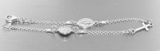 Armband Silber 925 Schutzengel Kreuz Hl. Maria Karabiner Armkette massiv - Vorschau 1