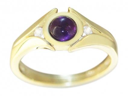 Ring Gold 585 mit Amethyst Cabochon eleganter Damenring Gelbgold 14 Karat massiv