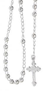Rosenkranz Kette echt Silber 925 - Kugelkette Rosario Silberkette Anhänger Kreuz