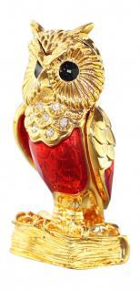 Miniatur goldene Eule auf dem Buch der Weisheit Gold pl m. Zirkonias zum Sammeln