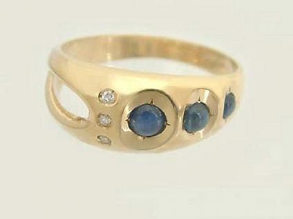 Moderner Goldring 585 mit Saphiren und Brillanten Ring Gold 14 kt Brillantring