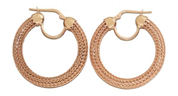 Runde Creolen Silber 925 Rotgold vergoldet Ohrringe Silbercreolen Sterlingsilber