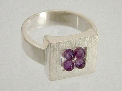 Perfekter Blickfang !! Silberring 925 - Quadrat mit Amethyst - Ring echt Silber