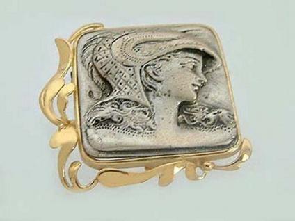 Große Brosche Gold 750 mit Schönheit in Silber 925 Goldbrosche Silberbrosche