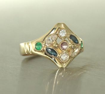 Goldring 585 multicolor Edelsteinring Rubin Saphir Ring Gold Damenring 14 kt