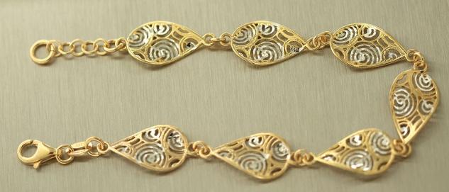 Massives Silberarmband 925 vergoldet - Armband Silber - Gold pl Armkette massiv